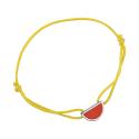 Bracelet cordon jaune laque rouge en finition argenté LES CUMULABLES 70312111601000