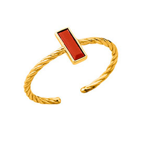 Bague laque rouge en finition or LES CUMULABLES 70311410101