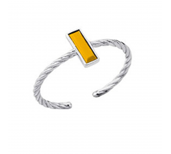 Bague laque jaune en finition argent LES CUMULABLES 70311411604