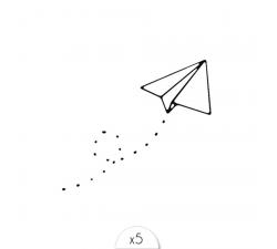 Un tattoo SIOOU Un petit avion en papier qui prend son envol ! LT02