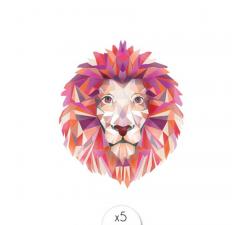 Tattoo LOVELY SIOOU Tête de lion dans un style polygonal, par Claire Lebeau AW06