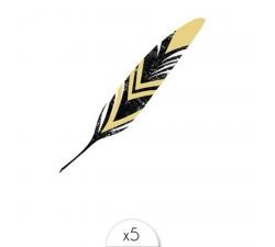 Tattoo LOVELY SIOOU Une fine plume mélangeant l'or et le noir. DVC01