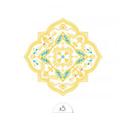 Tattoo LOVELY SIOOU Un mandala doré d'inspiration méditerranéenne avec ses fines pointes de turquoise et de rubis. DVC03