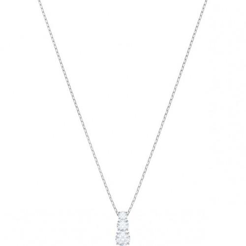 Pendentif Attract Trilogy Round, blanc, métal rhodié SWAROVSKI 5414970