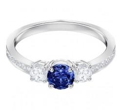Bague Attract Trilogy Round, bleu, métal rhodié SWAROVSKI 5448900