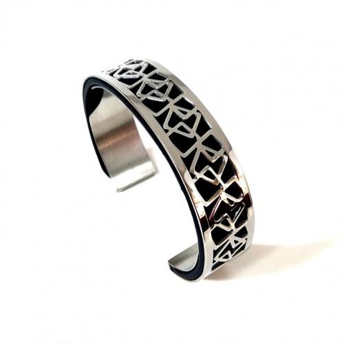 Bracelet acier manchette 15 mm ODA DREAMS CUBIC
