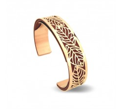 Bracelet acier manchette 15 mm ODA DREAMS Feuilles