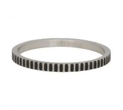 Bague Cartel IXXXI 2 mm - Argent mat / Noir