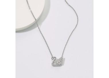 Collier Iconic Swan, blanc, métal rhodié 5416605