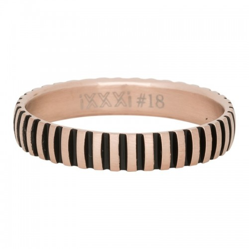 BAGUE PIANO IXXXI 4 MM - OR ROSE MAT / NOIR