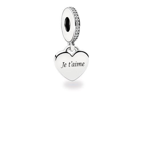 Charm pendentif Je t'aime, Argent 925/1000 Pandora ENG792017CZ-JTM