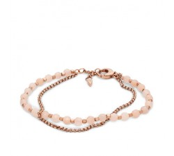 BRACELET FEMME double chaîne avec pierres semi-précieuses roses FASHION FOSSIL