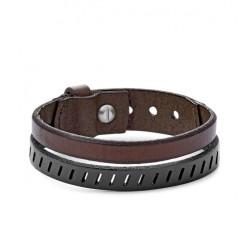 Double bracelet Vintage Casual en cuir marron FOSSIL