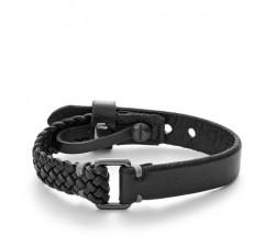 Bracelet Vintage Casual en cuir noir FOSSIL