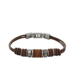 Bracelet homme Vintage Casual perlé en cuir FOSSIL