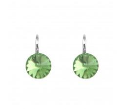Boucles d'oreilles argent 925/1000 et Swarovski elements Indicolite DO-EMI-214
