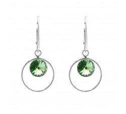 Boucles d'oreilles argent 925/1000 et Swarovski elements Indicolite DO-JULI-214