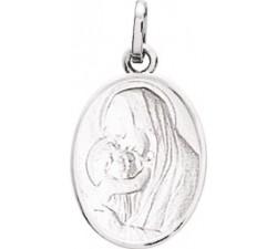 Médaille vierge à l'enfant or gris 750/1000 by Stauffer