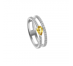 Bague Symphonie or blanc, saphir jaune et diamants