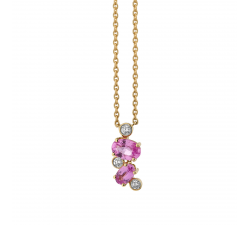 Collier GARDEN PARTY Rendez-Vous or jaune, saphir rose et diamants