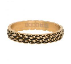 Bague lucky knot IXXXI 4 mm - Or jaune / Noir