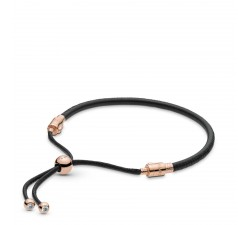 Bracelet Moments Coulissant en Cuir, Noir en Pandora Rose 588059CBK-2