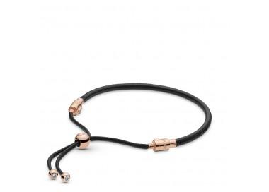 Bracelet Moments Coulissant en Cuir, Noir en Pandora Rose 588059CBK-2