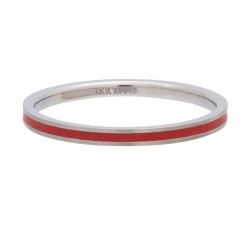 Bague IXXXI Line red 2 mm - Argent