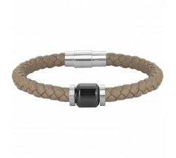 Bracelet acier, cuir et céramique PHEBUS FOR HIM 35-0910