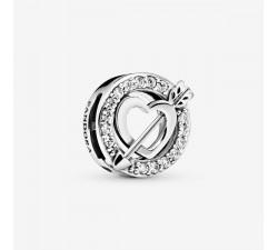 Cœur & Flèche Asymétrique, charm clip Réflexions en argent 925/1000° Pandora - 797793CZ
