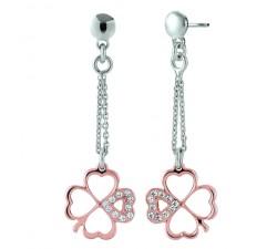 Boucles d'oreilles INANNA argent 925 bicolore et oxydes de zirconium JOURDAN ADY 001