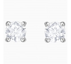 Boucles d'oreilles Attract Round, blanc, Métal rhodié SWAROVSKI 5408436