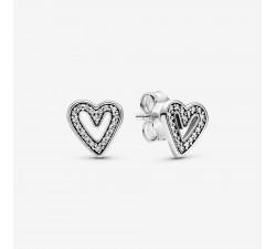 Boucles d'Oreilles Esquisse de Cœurs Scintillants en Argent 925/1000ᵉ Pandora 298685C01