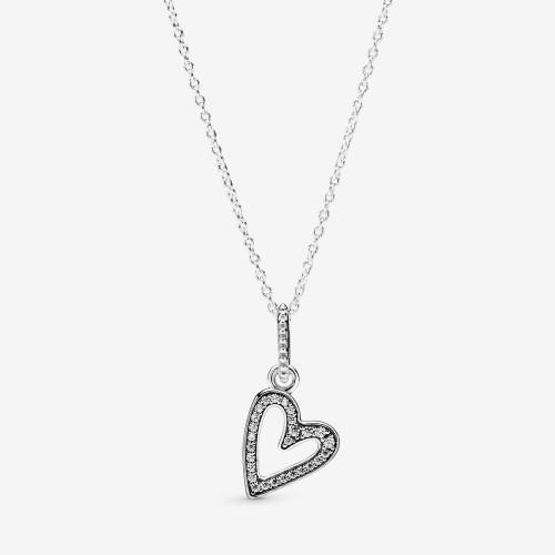 Collier Pendant Esquisse de Cœur Scintillant en Argent 925/1000 PANDORA 398688C01-50