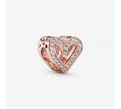 Charm Esquisse de Cœur Scintillant en Pandora Rose 788692C01