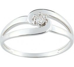 Bague or gris 375/1000, diamant by Stauffer