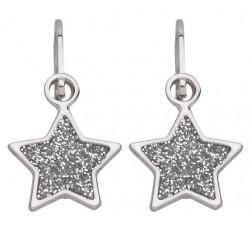 Boucles d'oreilles étoiles or gris 375/1000 et paillettes by Stauffer