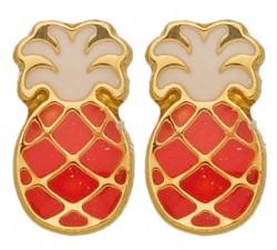 Boucles d'oreilles ananas or jaune 375/1000 et laque by Stauffer