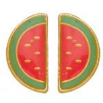 Boucles d'oreilles pastèque or jaune 375/1000 et laque by Stauffer