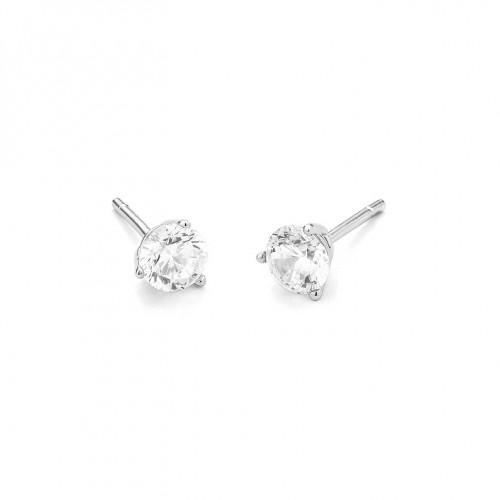 Boucles d'oreilles or gris 750/1000 et diamants 0,10 carat by Stauffer