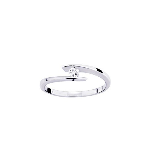 Bague or gris 375/1000, diamant 0,08 carat by Stauffer