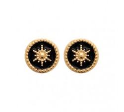Boucles d'oreilles pendantes plaqué or, émail by Stauffer