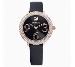 Montre Crystal Frost, Bracelet en cuir, noir, PVD doré rose Swarovski 5484058