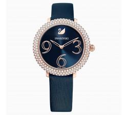 Montre Crystal Frost, Bracelet en cuir, bleu, PVD doré rose Swarovski 5484061