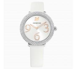 Montre Crystal Frost, Bracelet en cuir, blanc, acier inoxydable Swarovski 5484070