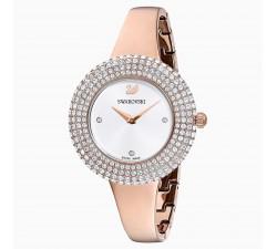 Montre Crystal Rose, Bracelet en métal, blanc, PVD doré rose Swarovski 5484073