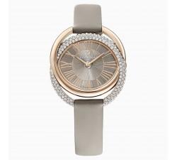 Montre Duo, Bracelet en cuir, gris, PVD doré champagne Swarovski 5484382