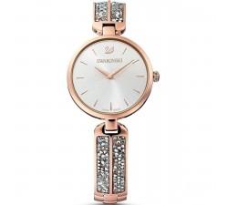 Montre Dream Rock, Bracelet en métal, gris, PVD doré rose Swarovski 5519306