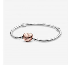 Bracelet Maille Serpent Fermoir Cœur Pandora Moments en Argent 925/1000e 580719