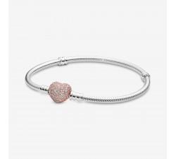 Bracelet Maille Serpent Fermoir Cœur Pavé Pandora Moments en Argent 925/1000e 586292CZ